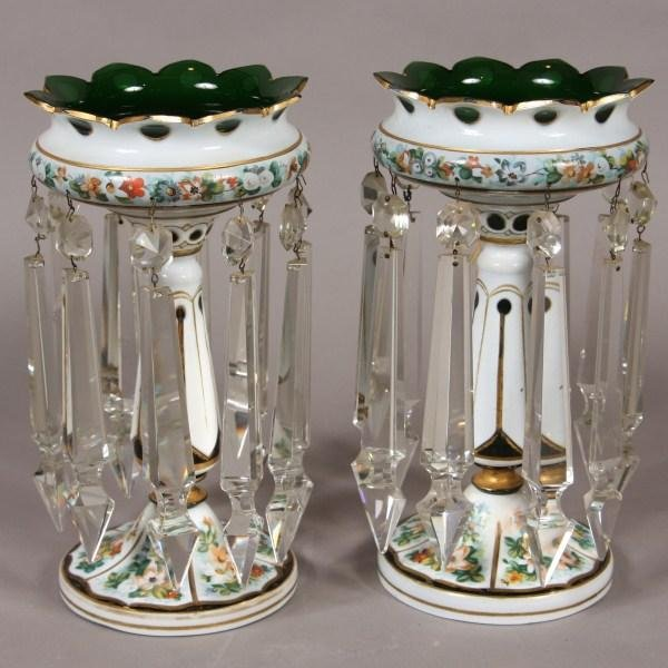 57: Pair Emerald White Cased Glass Lusters, English or
