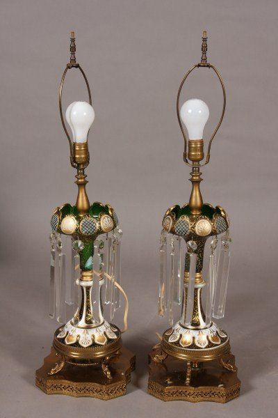 82: Pair Emerald Cased Glass Lusters, Continental, Earl
