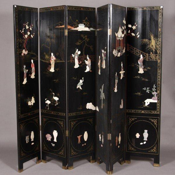 1: Six Panel Black Lacquered & Bone, Abalone & Hand Sto