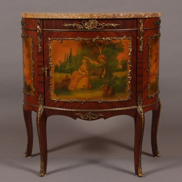 8: Louis XV Style Marble Top Brass Mounted Mahogany & P