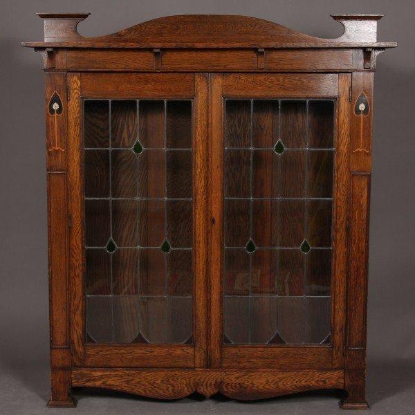 9: Arts & Crafts Oak Book Cabinet, American or English,