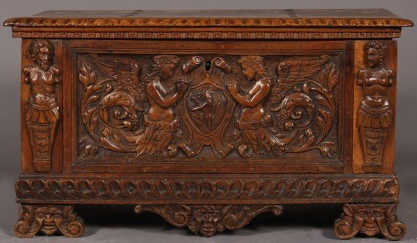 11: Baroque Style Carved Walnut Coffer, Continental, Pr