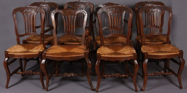 17: Set of Eight Provincial Carved Oak Rush Seat Dining