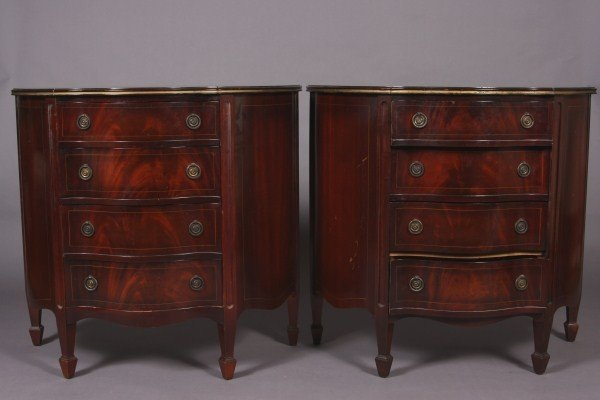 18: Pair George III Style Chests, American, 20th Centur