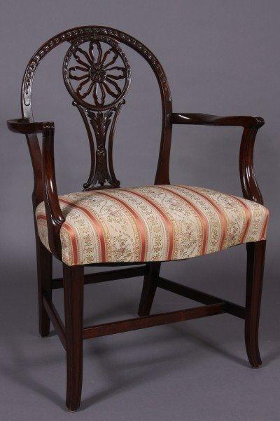 21: Georgian Style Mahogany Open Arm Chair, American or