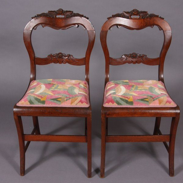 22: Pair Victorian Mahogany Side Chairs, American, Late