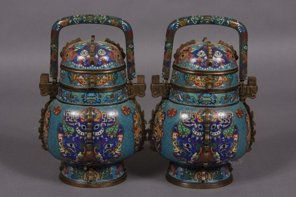 252: Pair of Cloisonne Covered Urns, Chinese, 19th Cent