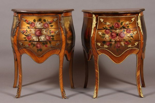 1: Pair Louis XV Style Kingwood Painted & Gilt Brass Mo