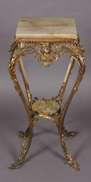 2: Louis XV Style Brass & Alabaster Pedestal, American,