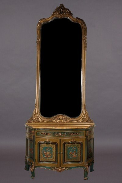 3: Louis XV Style Marble Top Green Painted & Gilt Decor