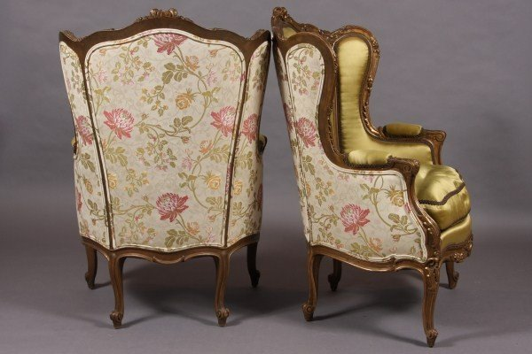 5: Pair Louis XV Style Carved Gesso & Gilt Wood Bergier - 2
