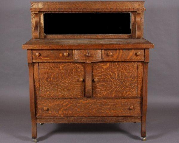 7: Victorian Oak Server, American, Late 19th/ Early 20t