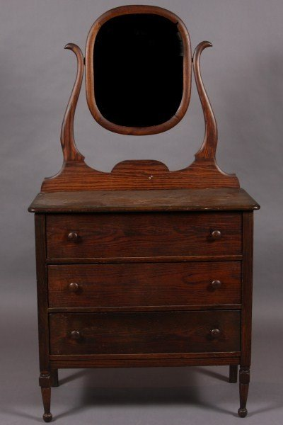 8: Victorian Oak Three Drawer Chest with Mirror, Americ