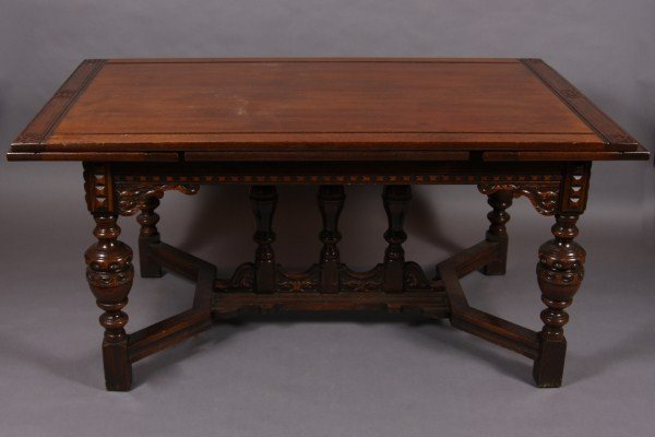 11: Jacobean Style Oak Dining Table and Six Chairs, Ame