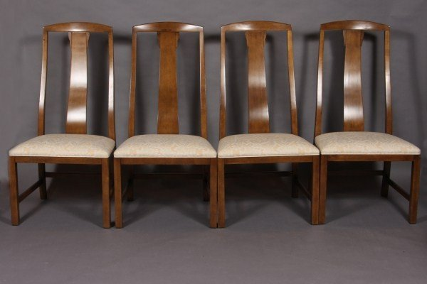 18: Eight Baker Walnut Finished Dining Chairs, American