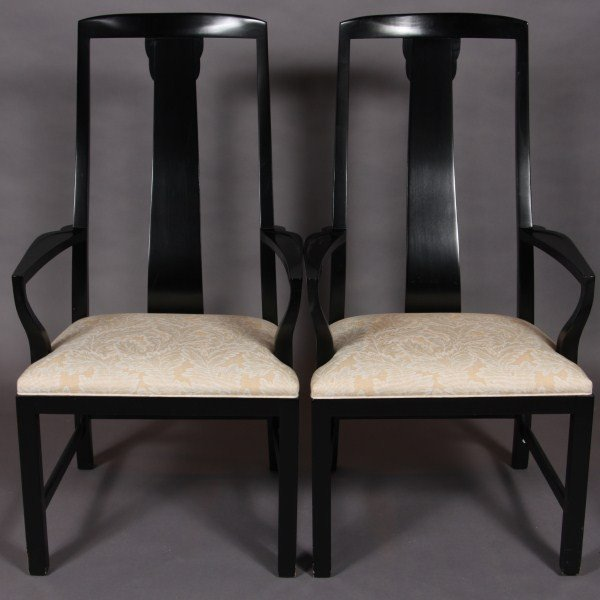 21: Pair Baker Black Lacquered Open Arm Chairs, America