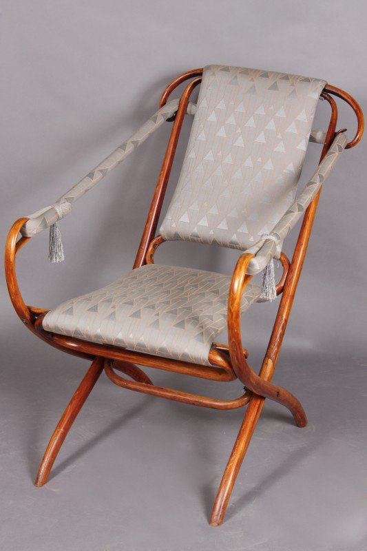 22: Bentwood & Upholstered Open Arm Chair, Continental,