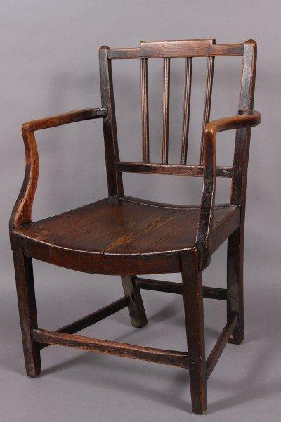 24: Late Georgian Oak Child's Open Arm Chair, English,