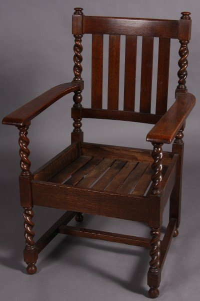 2: Oak Arm Chair With Barley Twist Columns, Paddle Arms