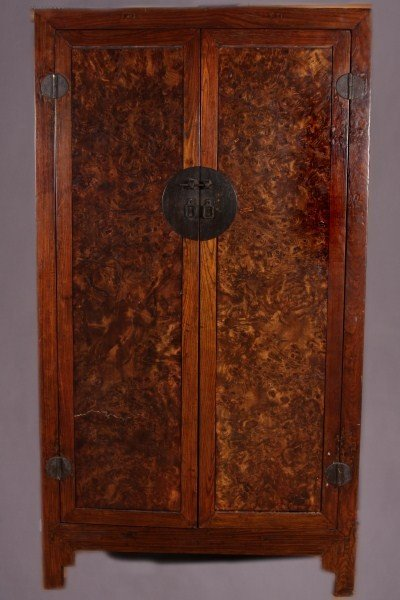 3: Burl and Elm Cabinet, Chinese, 19th Century.