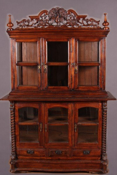 6: British Colonial Hardwood and Glazed Cabinet