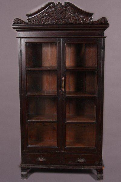 7: British Colonial Hardwood Glazed Cabinet