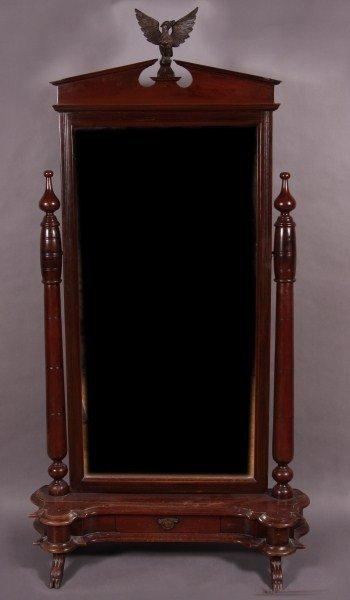 8: British Colonial Mahogany Standing Mirror