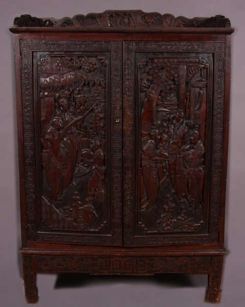 9: Carved Hardwood Cabinet, Chinese, Early 20th Century