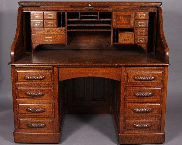 10: Oak Roll Top Desk, English or American, Early 20th