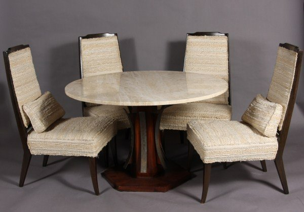 17: Marden Travertine & Walnut Table and Chairs