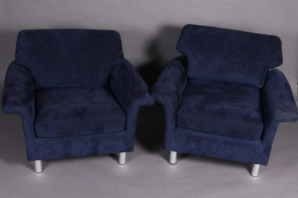 19: Pair Dux Upholstered and Chrome Arm Chairs