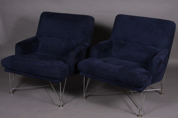20: Pair Dux Upholstered and Chrome Arm Chairs