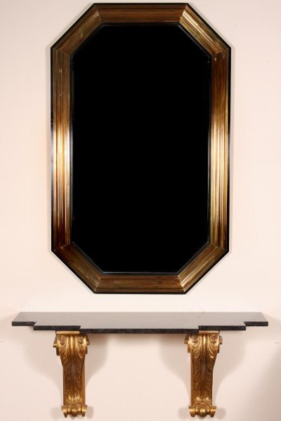 21: Mid-Century Marble & Gilt Wood Console Table