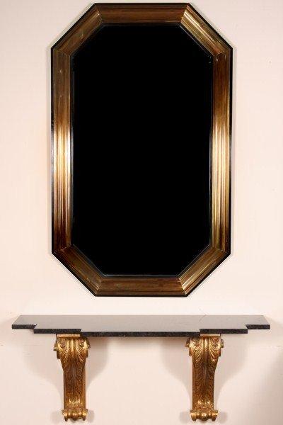 22: Mid-Century Brass Octagonal Mirror, 20th C.