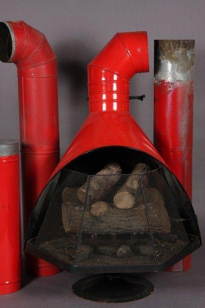 24: Danish Modern Orange Sheet Metal Fireplace