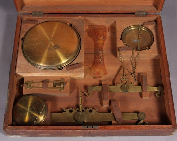 27: Brass Hanging Balance Scale In Cherry Case