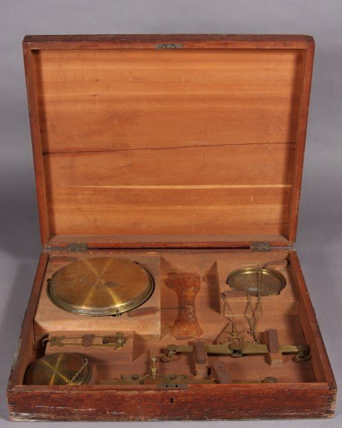 27: Brass Hanging Balance Scale In Cherry Case - 2