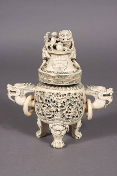 4: Carved Ivory Covered Koro, Chinese, 20th C.