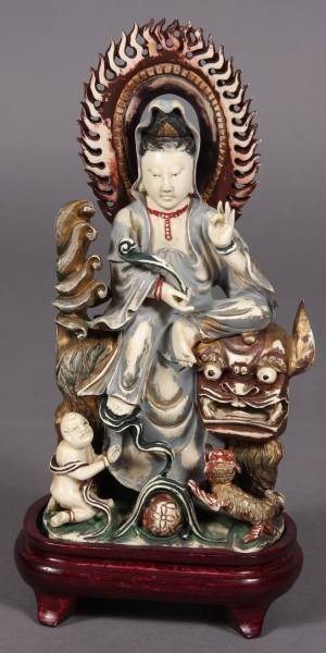 8: Carved Ivory Quan Yin Seated on Foo Dragon, Chinese