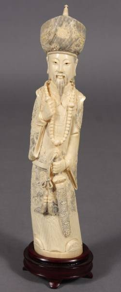 10: Carved Ivory Figures of Emperor & Empress, Japanese