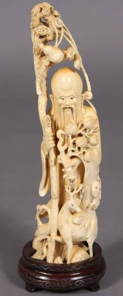 13: Carved Ivory Figure of Lohan, Japanese, 20th C.