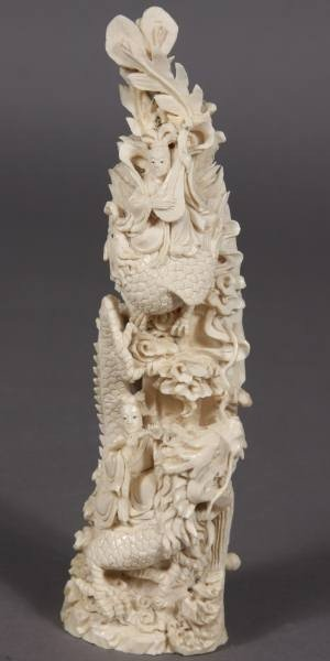 14: Carved Ivory Figures & Dragons Amidst Clouds