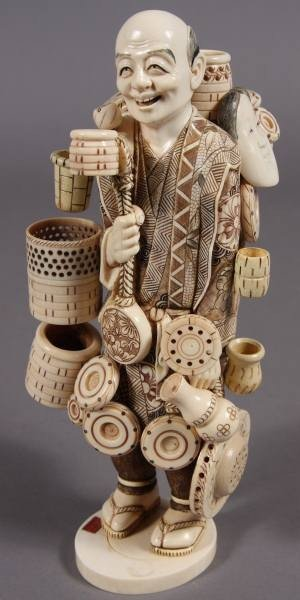 21: Carved Ivory Figure of a Basket Seller, Japanese