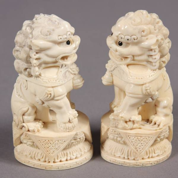 22: Pair Carved Ivory Foo Lions, Japanese, 20th Century