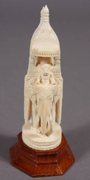23: Carved Ivory Elephant with Howdah, Indian, 20th C.