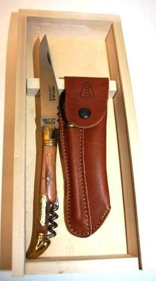 13: Knife in Fitted Box with Leather Case, New