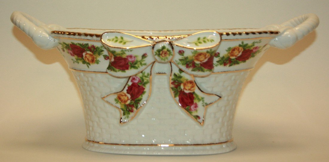 "235: Royal Albert ""Old Country Roses"" Basket Weave Bowl"