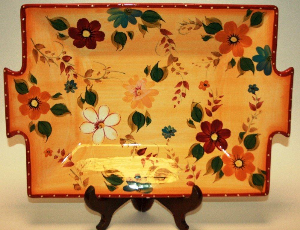 "378: Oneida ""Sunset Bouquet"" Rectangular Tray, New in B"
