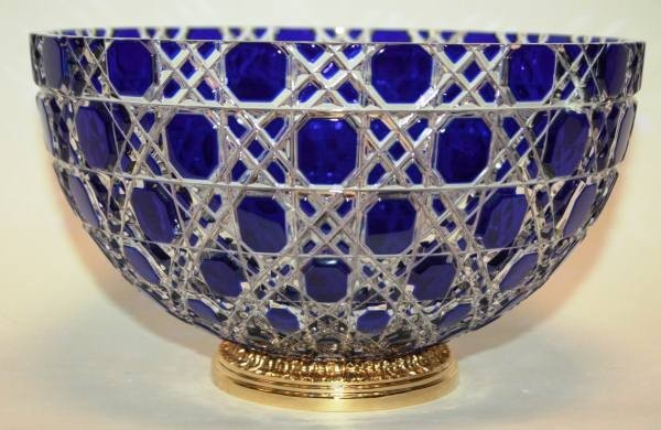 "402: Faberge ""Russian Court"" Blue Cut Crystal Bowl with"