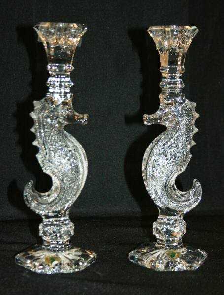 415 Waterford Crystal Oceana Seahorse Candlestick Pa